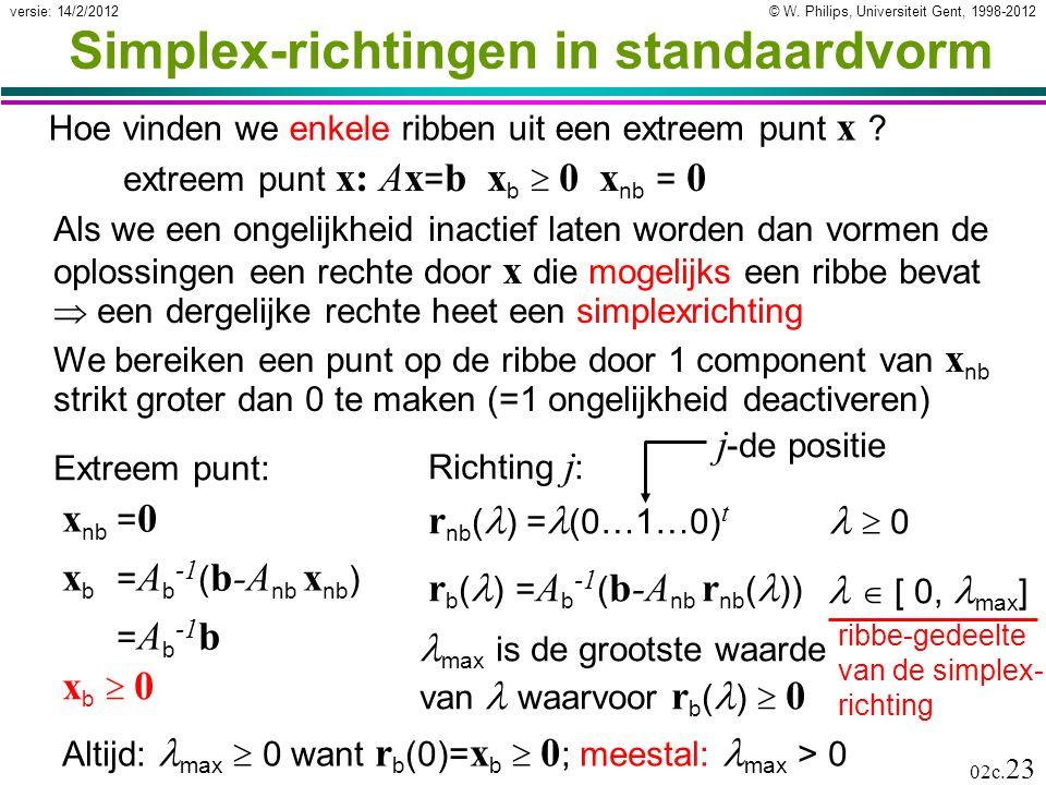 Simplex-richtingen in standaardvorm