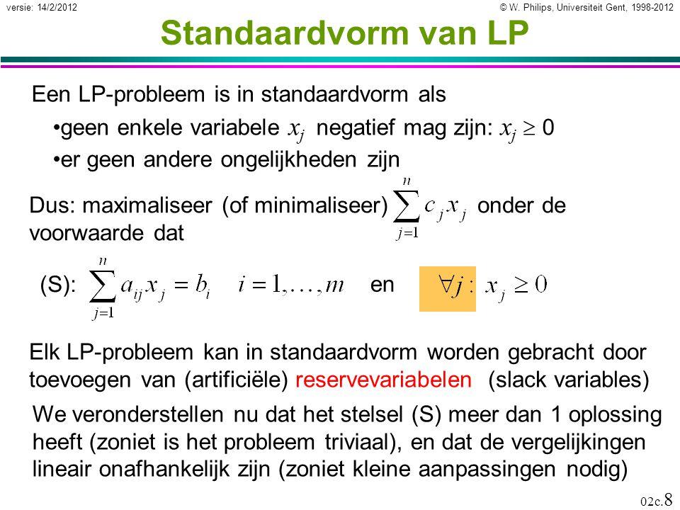 Standaardvorm van LP Een LP-probleem is in standaardvorm als
