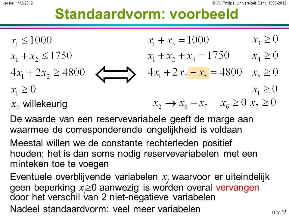 Standaardvorm: voorbeeld