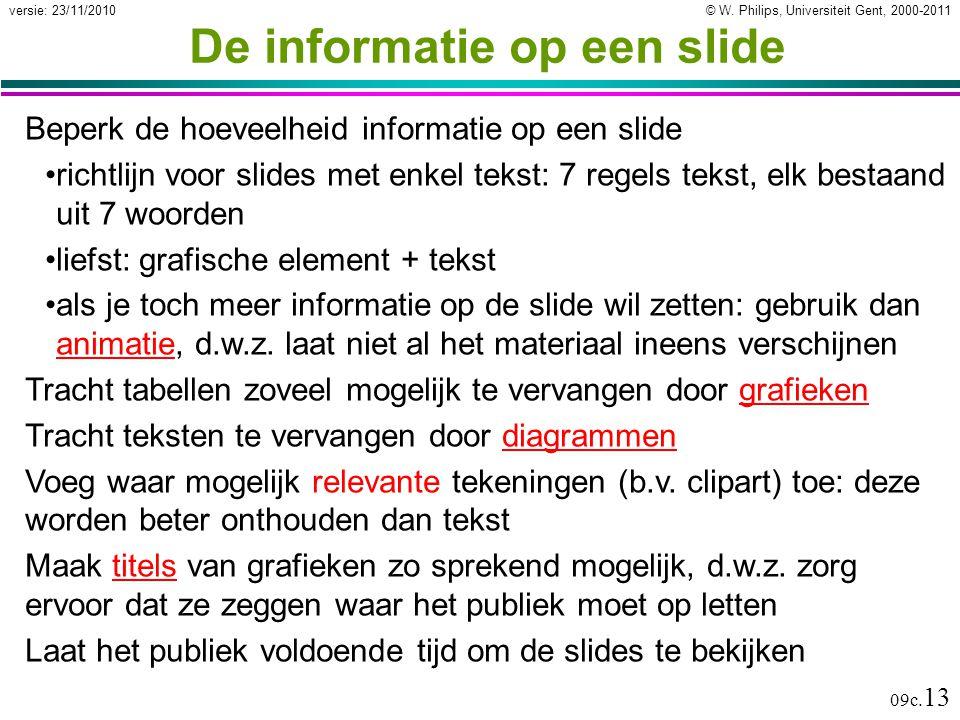 De informatie op een slide