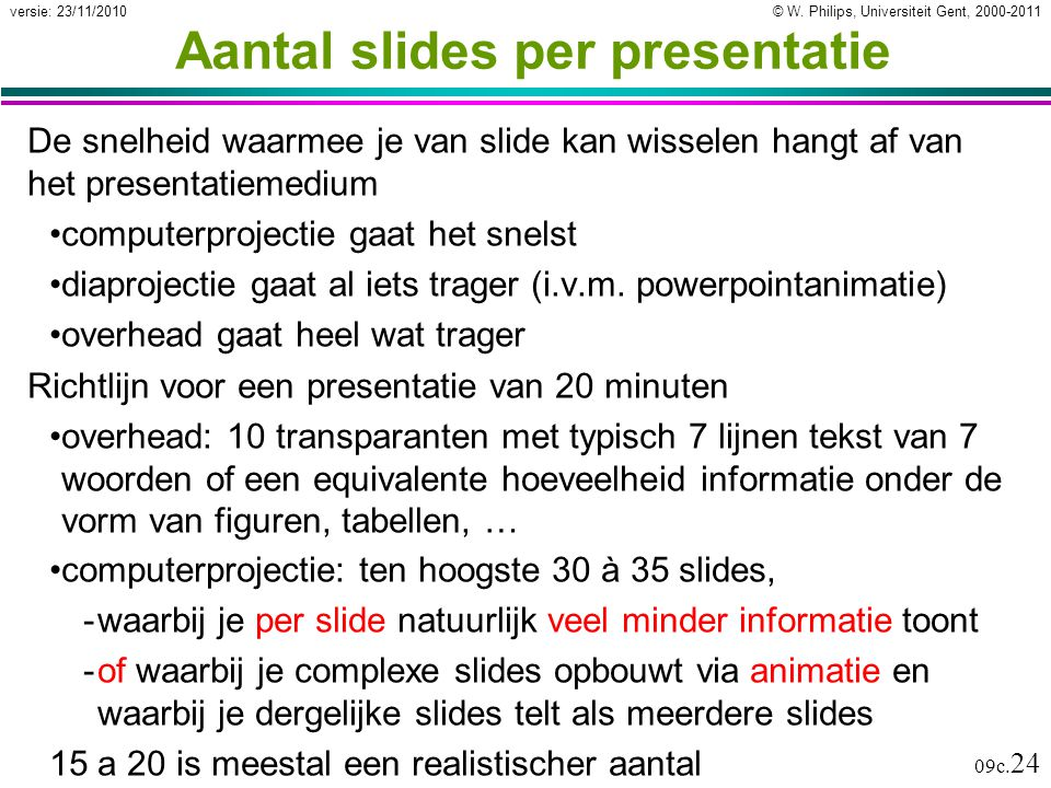 Aantal slides per presentatie