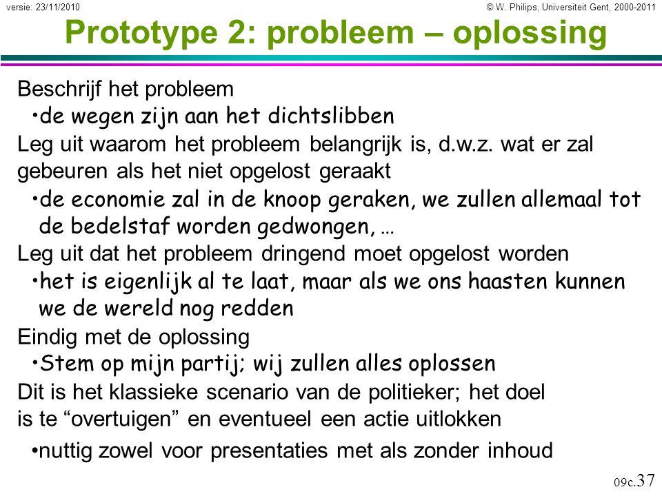 Prototype 2: probleem – oplossing