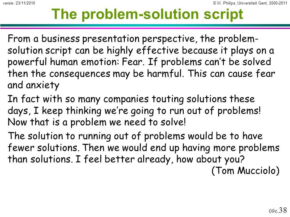 The problem-solution script