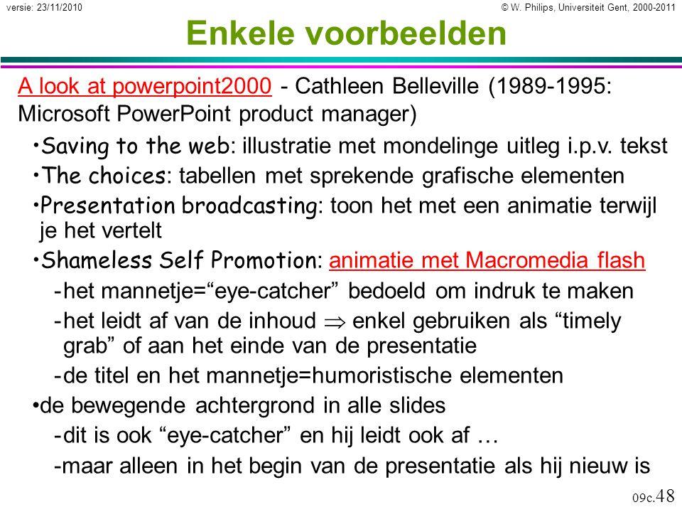 Enkele voorbeelden A look at powerpoint2000 - Cathleen Belleville (1989-1995: Microsoft PowerPoint product manager)