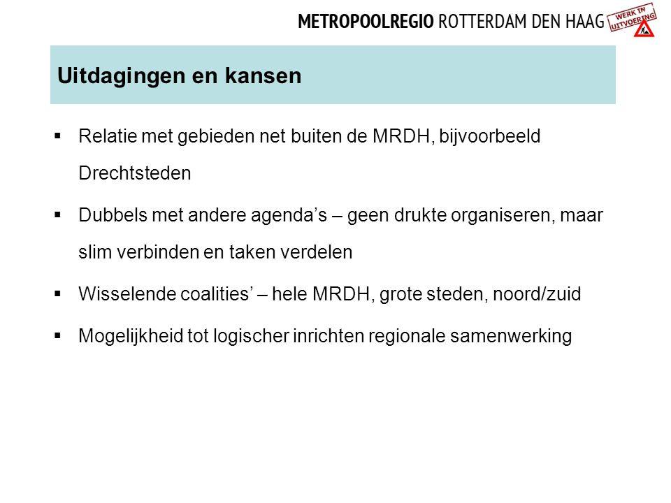 Uitdagingen en kansen Relatie met gebieden net buiten de MRDH, bijvoorbeeld Drechtsteden.