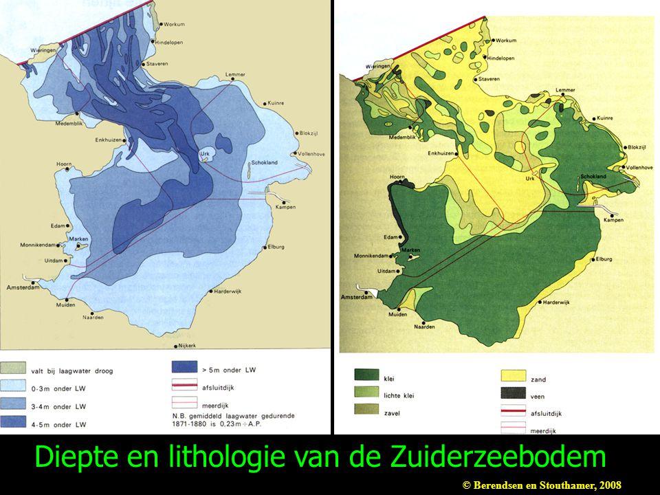 Diepte en lithologie van de Zuiderzeebodem