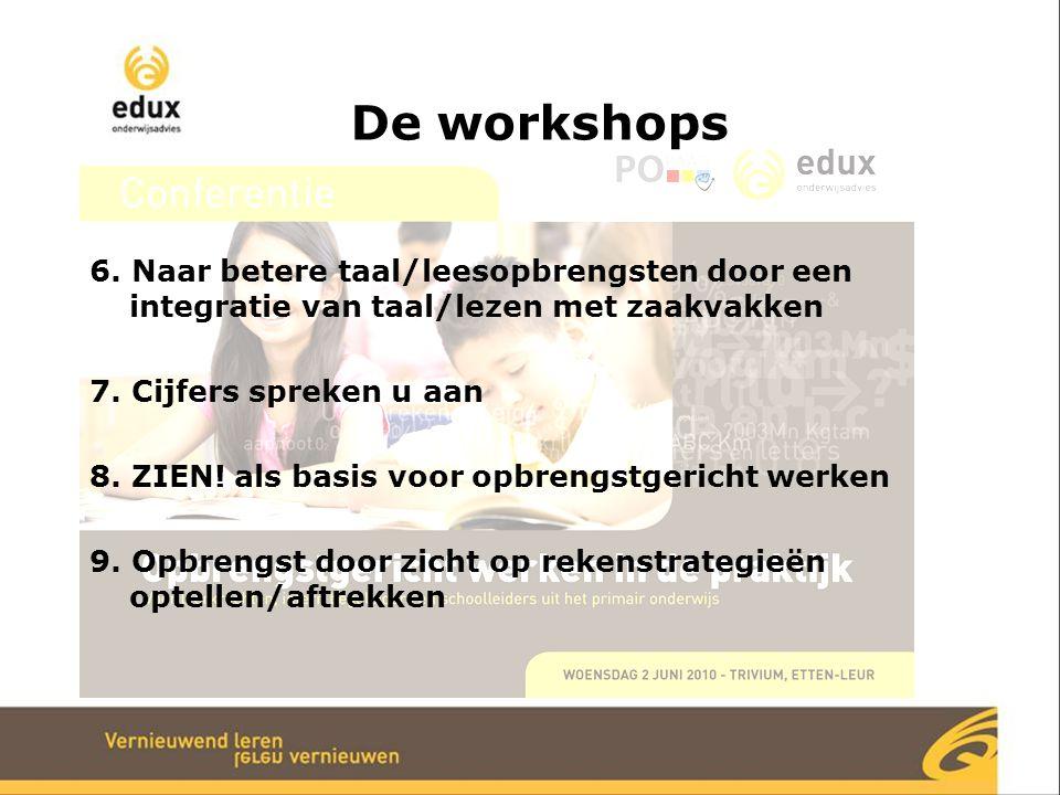 De workshops 6. Naar betere taal/leesopbrengsten door een integratie van taal/lezen met zaakvakken.