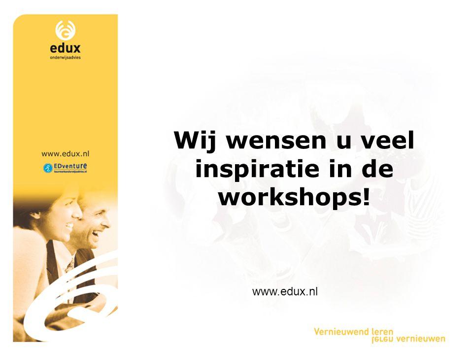 Wij wensen u veel inspiratie in de workshops!