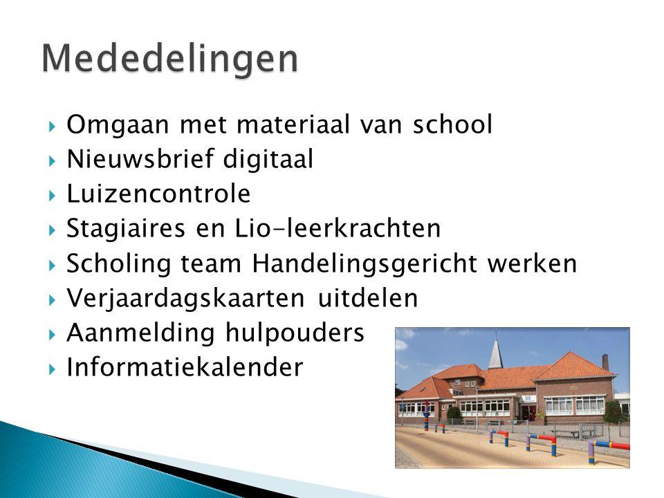 Mededelingen Omgaan met materiaal van school Nieuwsbrief digitaal
