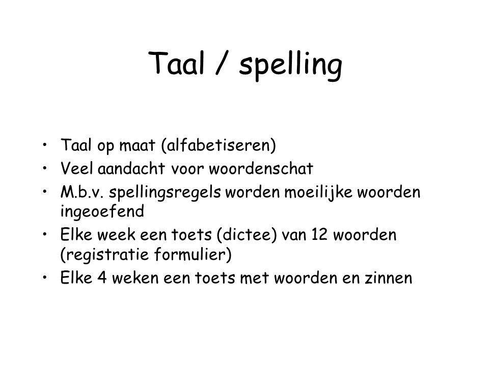 Taal / spelling Taal op maat (alfabetiseren)