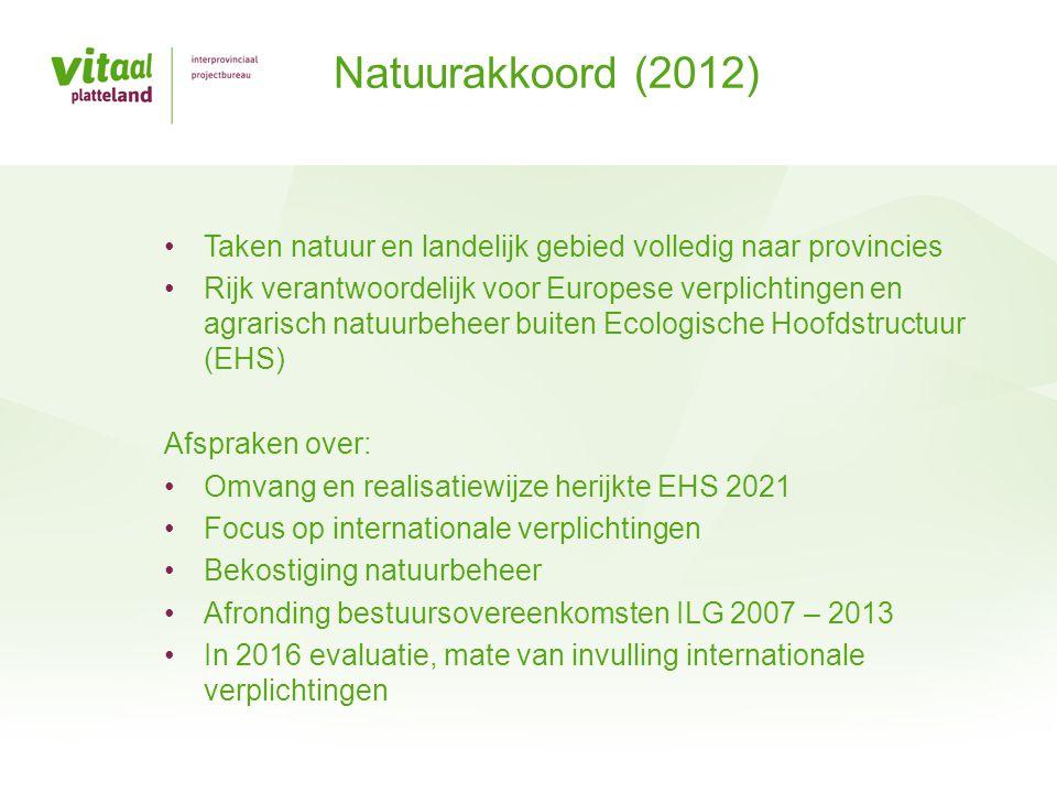 Natuurakkoord (2012) Taken natuur en landelijk gebied volledig naar provincies.