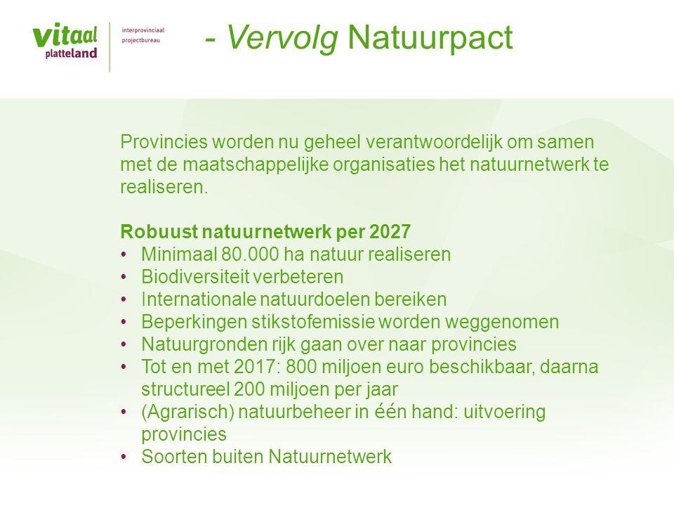 - Vervolg Natuurpact Provincies worden nu geheel verantwoordelijk om samen met de maatschappelijke organisaties het natuurnetwerk te realiseren.