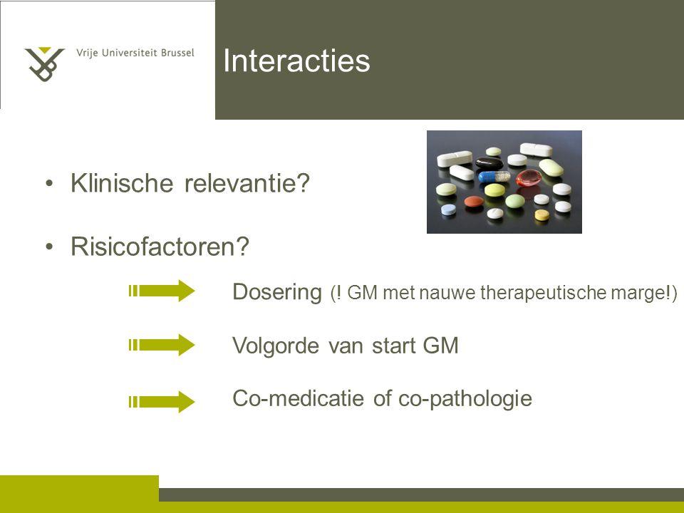 Interacties Klinische relevantie Risicofactoren