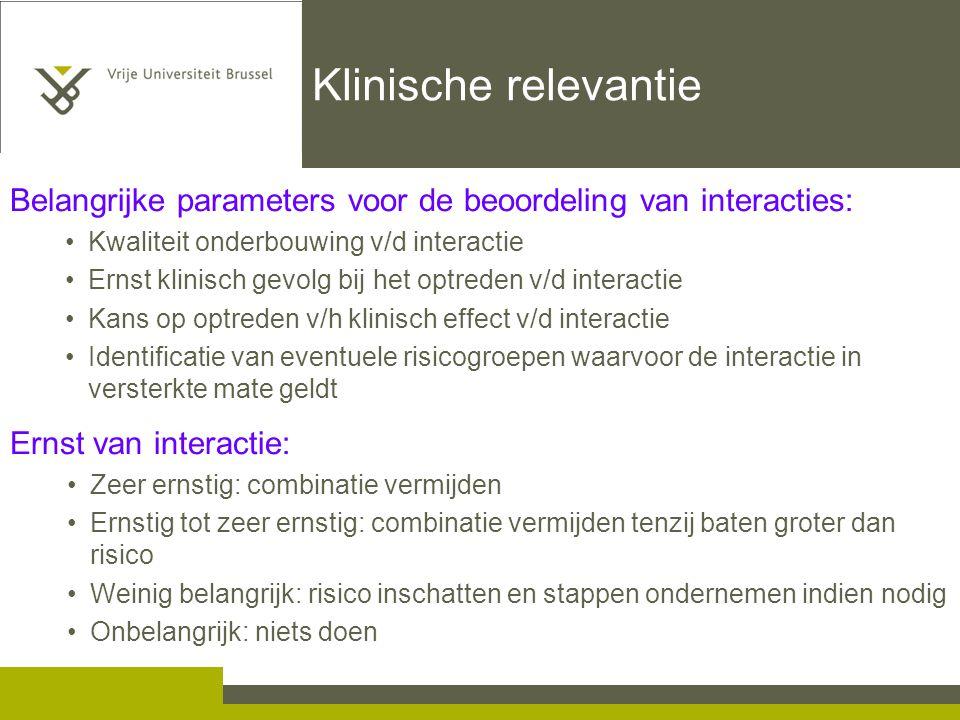 Klinische relevantie Belangrijke parameters voor de beoordeling van interacties: Kwaliteit onderbouwing v/d interactie.