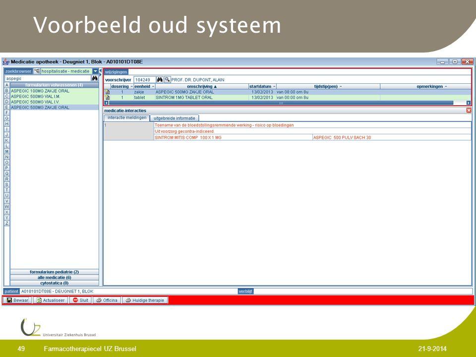 Voorbeeld oud systeem Farmacotherapiecel UZ Brussel 5-4-2017