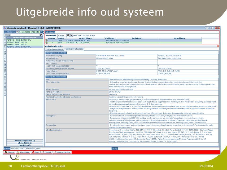 Uitgebreide info oud systeem