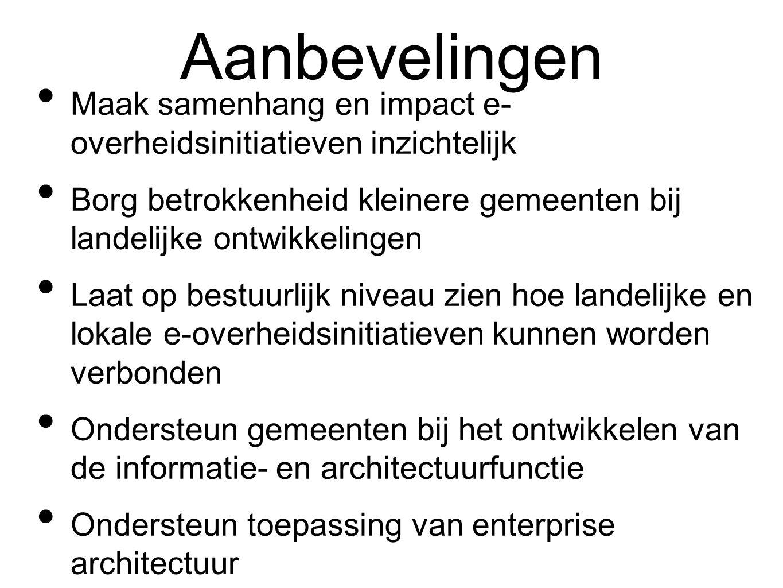 Aanbevelingen Maak samenhang en impact e- overheidsinitiatieven inzichtelijk. Borg betrokkenheid kleinere gemeenten bij landelijke ontwikkelingen.