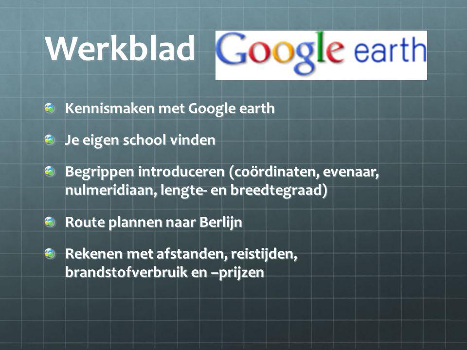 Werkblad Kennismaken met Google earth Je eigen school vinden