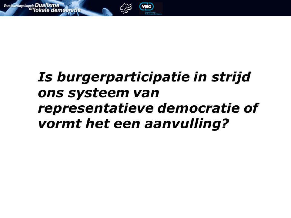 Is burgerparticipatie in strijd ons systeem van representatieve democratie of vormt het een aanvulling