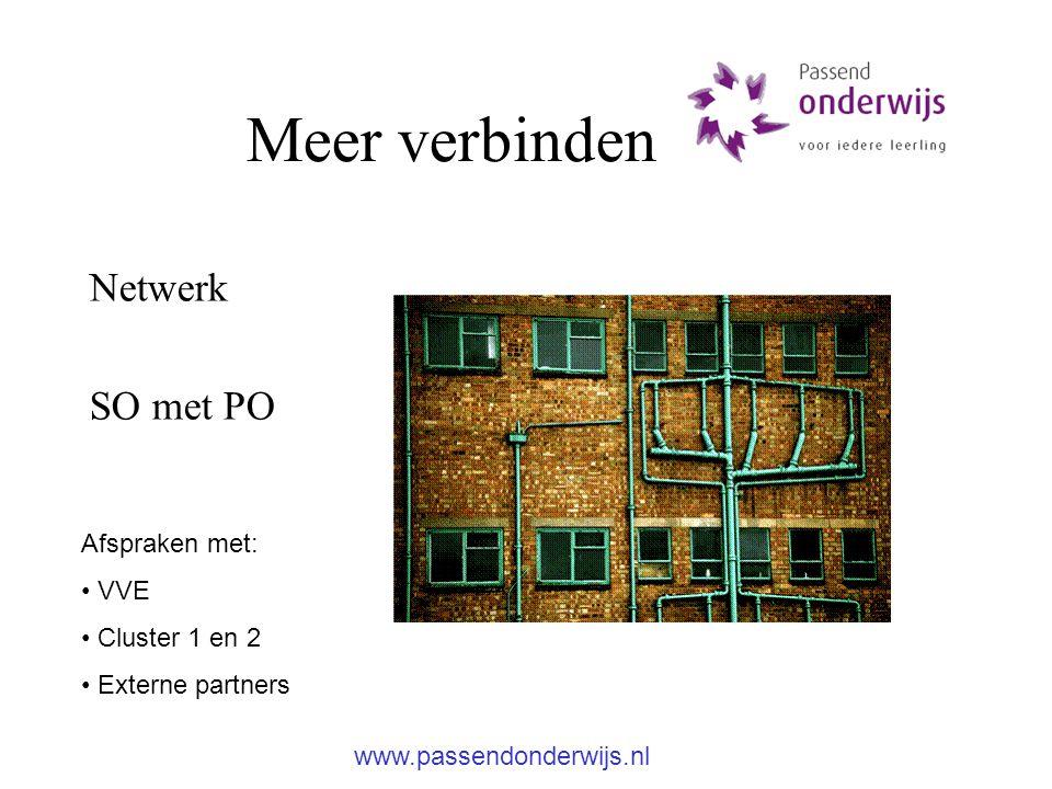 Meer verbinden Netwerk SO met PO Afspraken met: VVE Cluster 1 en 2