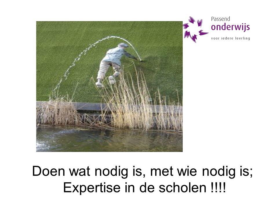 Doen wat nodig is, met wie nodig is; Expertise in de scholen !!!!