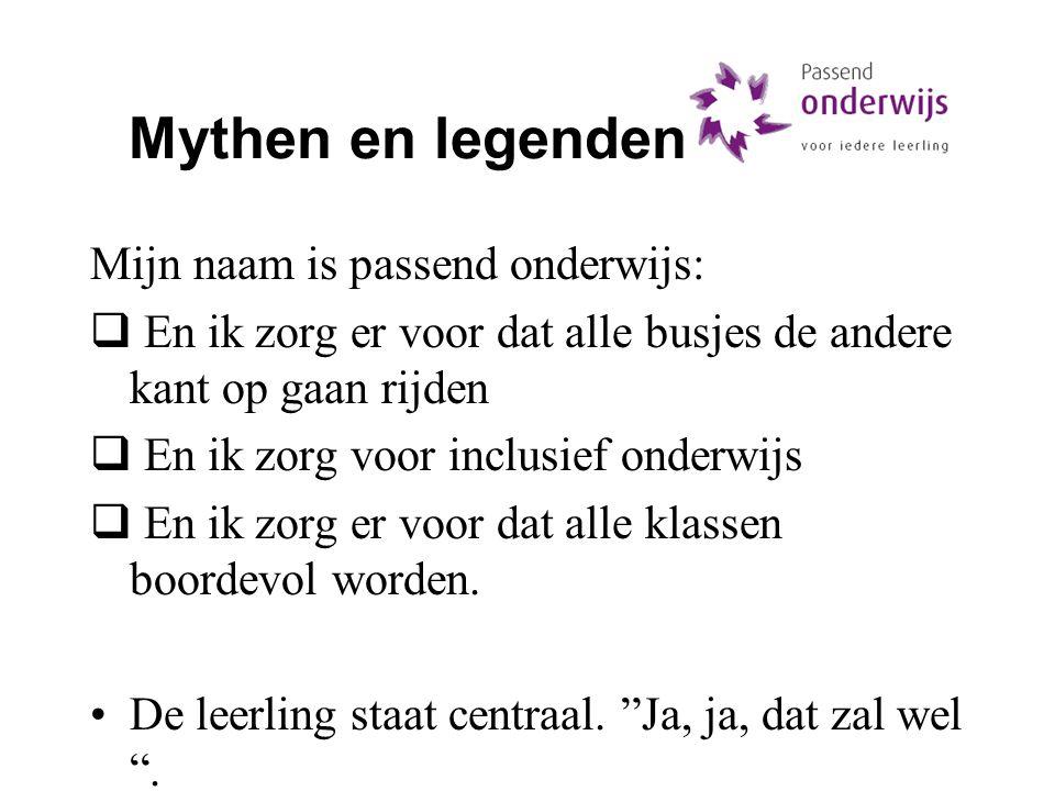 Mythen en legenden Mijn naam is passend onderwijs: