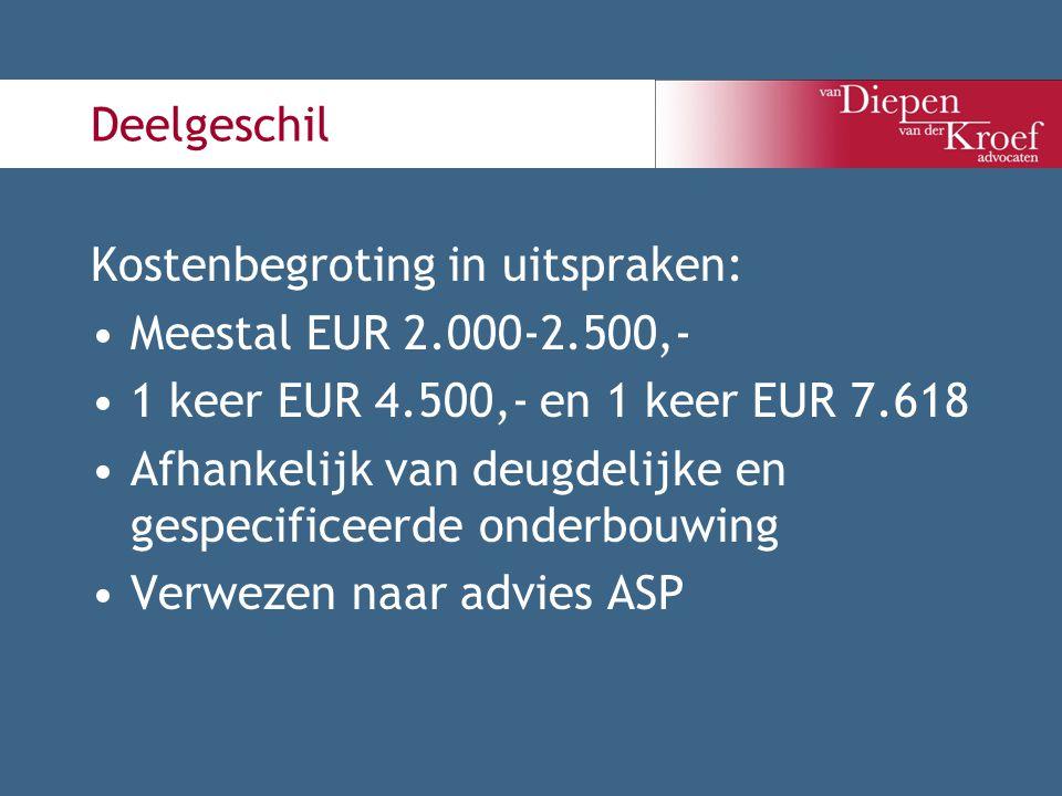 Deelgeschil Kostenbegroting in uitspraken: Meestal EUR 2.000-2.500,- 1 keer EUR 4.500,- en 1 keer EUR 7.618.