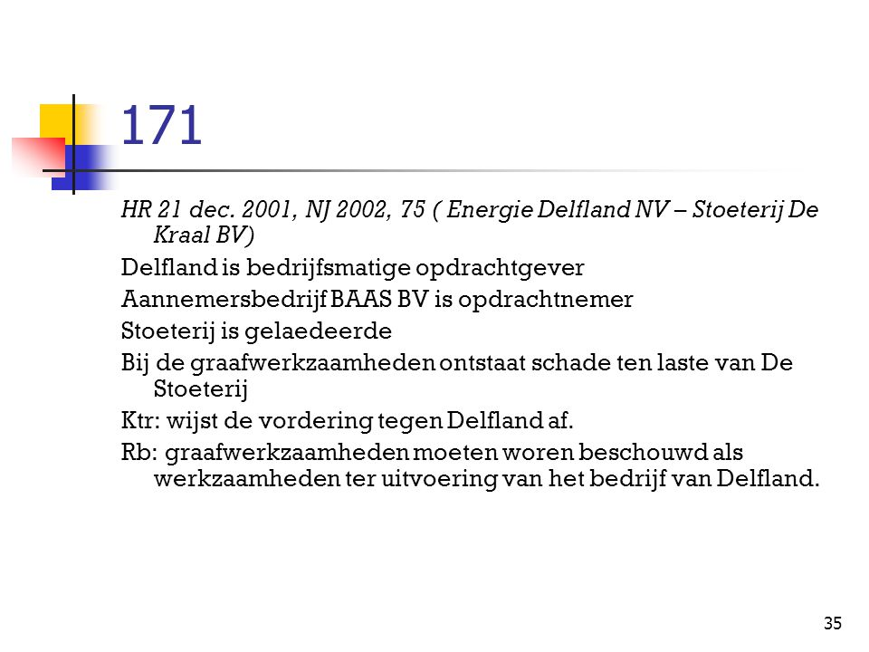 171 HR 21 dec. 2001, NJ 2002, 75 ( Energie Delfland NV – Stoeterij De Kraal BV) Delfland is bedrijfsmatige opdrachtgever.