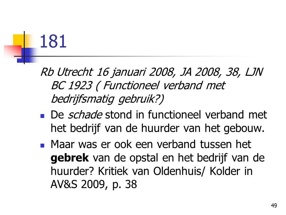 181 Rb Utrecht 16 januari 2008, JA 2008, 38, LJN BC 1923 ( Functioneel verband met bedrijfsmatig gebruik )