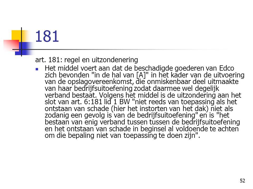 181 art. 181: regel en uitzondenering