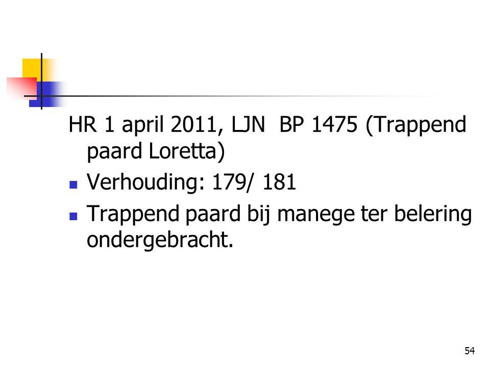 HR 1 april 2011, LJN BP 1475 (Trappend paard Loretta)