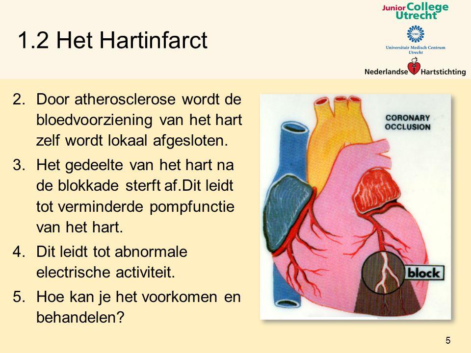 1.2 Het Hartinfarct Door atherosclerose wordt de bloedvoorziening van het hart zelf wordt lokaal afgesloten.
