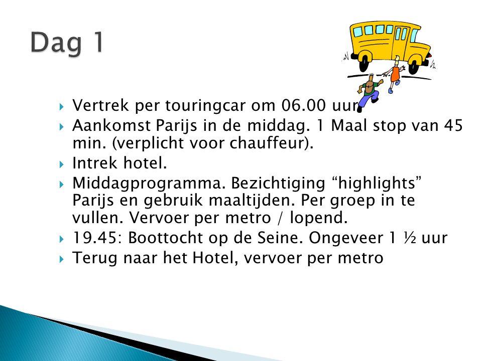Dag 1 Vertrek per touringcar om 06.00 uur.