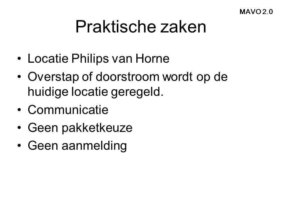 Praktische zaken Locatie Philips van Horne