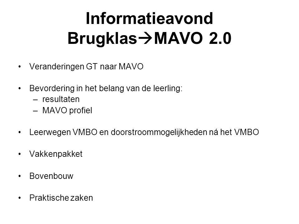 Informatieavond BrugklasMAVO 2.0