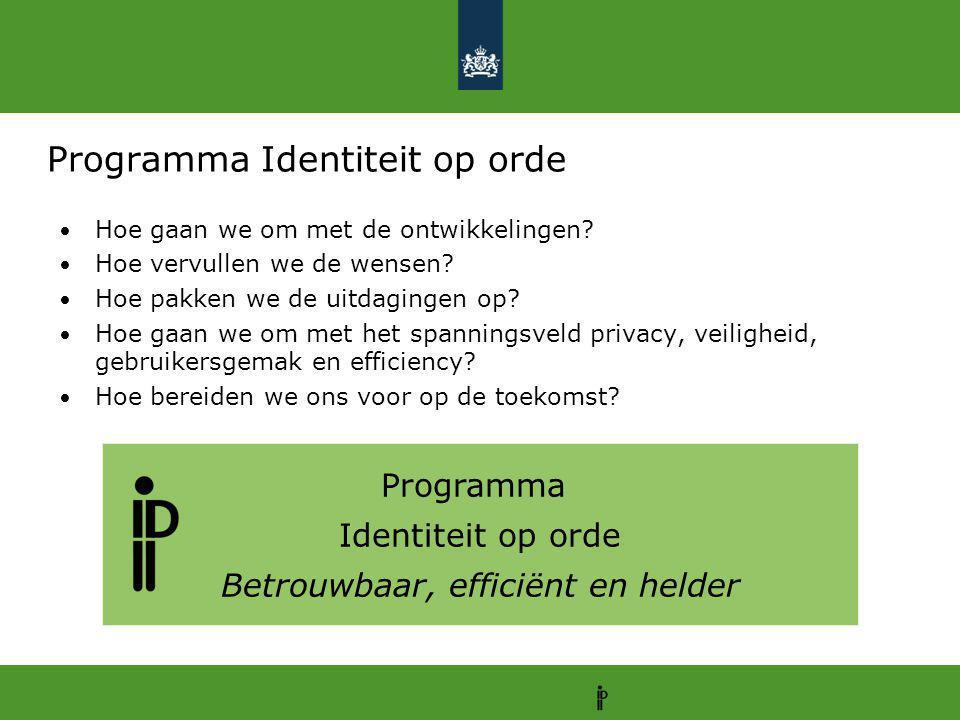 Programma Identiteit op orde