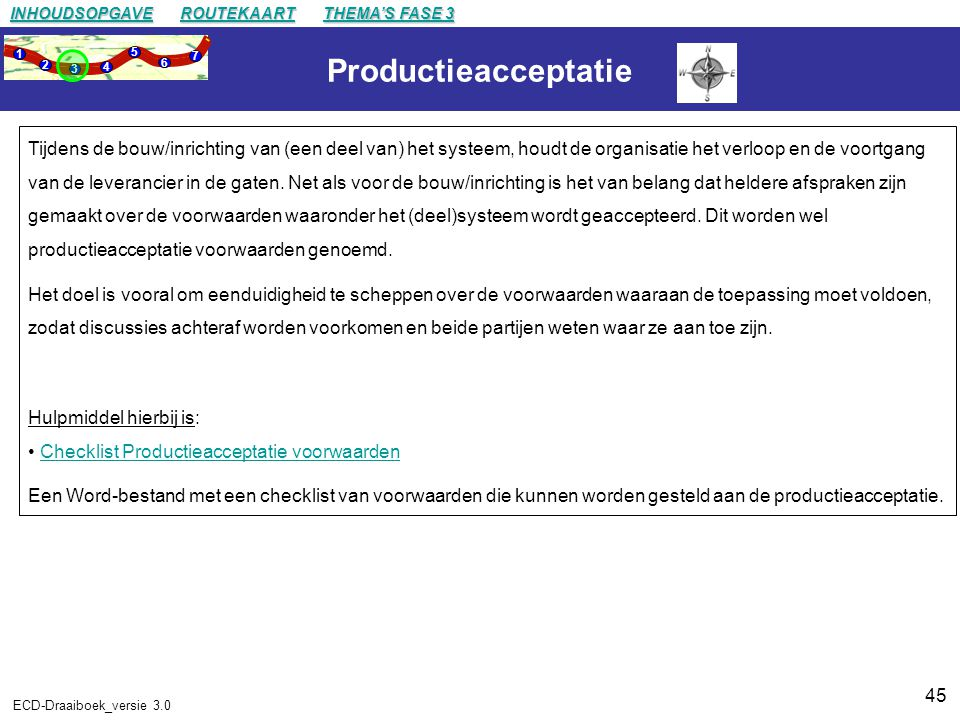 INHOUDSOPGAVE ROUTEKAART. THEMA'S FASE 3. 1. 2. 3. 4. 5. 6. 7. Productieacceptatie.