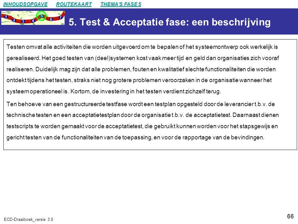 5. Test & Acceptatie fase: een beschrijving