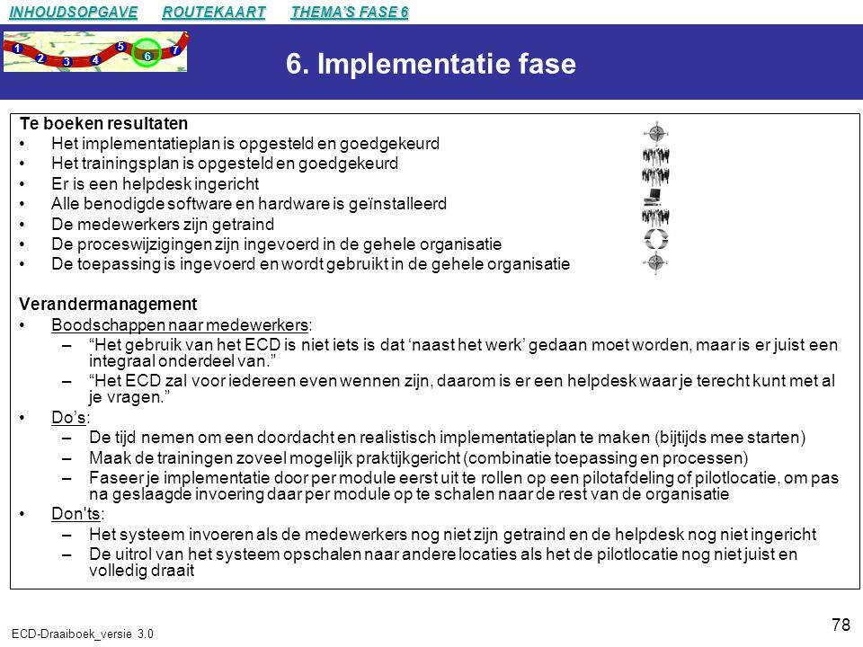 6. Implementatie fase Te boeken resultaten