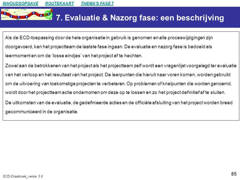 7. Evaluatie & Nazorg fase: een beschrijving