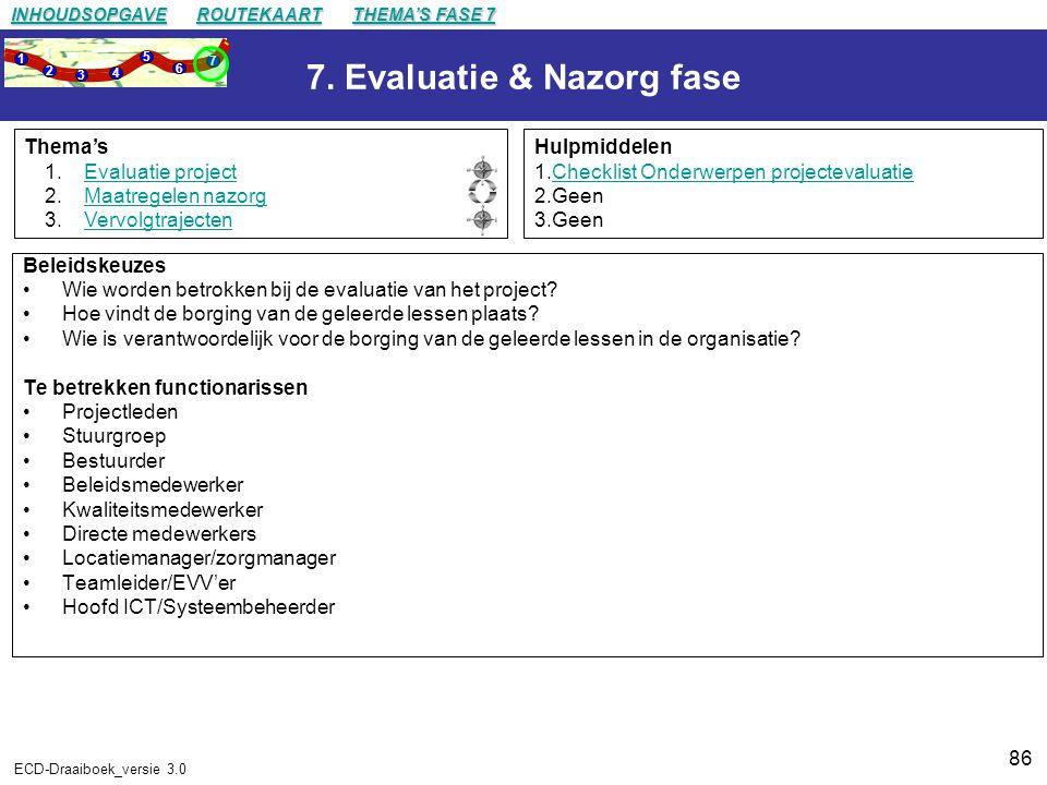 7. Evaluatie & Nazorg fase