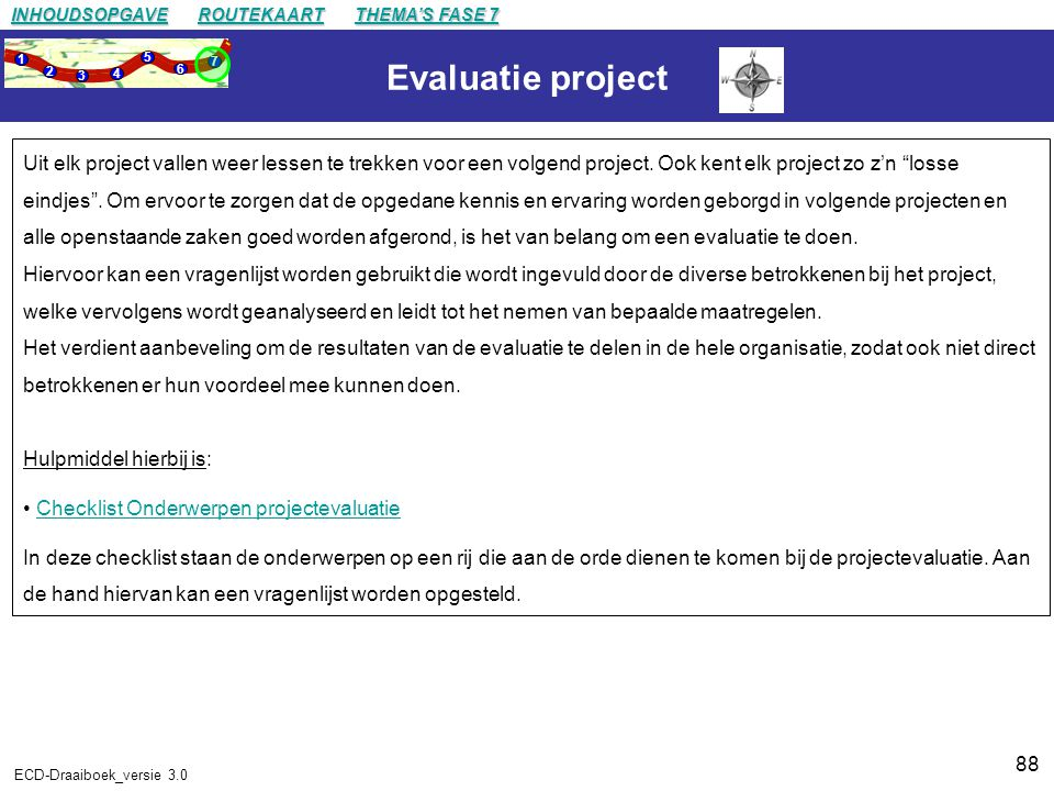 INHOUDSOPGAVE ROUTEKAART. THEMA'S FASE 7. 1. 2. 3. 4. 5. 6. 7. Evaluatie project.