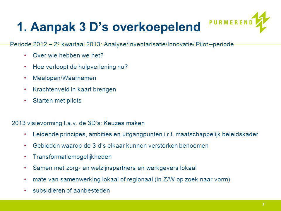 1. Aanpak 3 D's overkoepelend