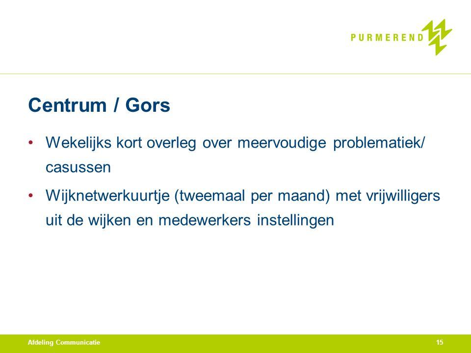Centrum / Gors Wekelijks kort overleg over meervoudige problematiek/ casussen.