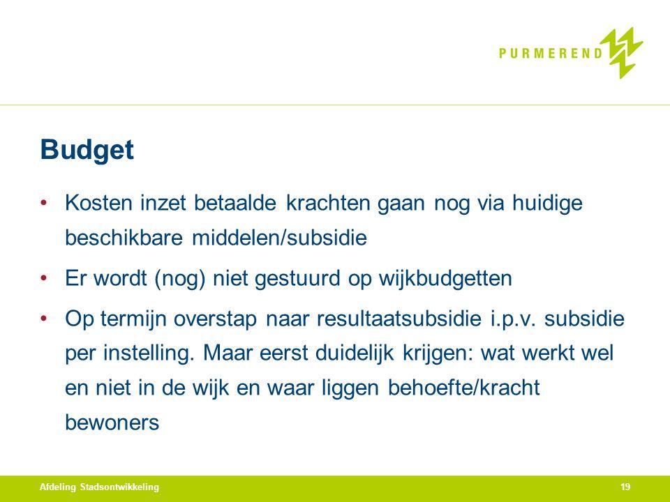 Budget Kosten inzet betaalde krachten gaan nog via huidige beschikbare middelen/subsidie. Er wordt (nog) niet gestuurd op wijkbudgetten.