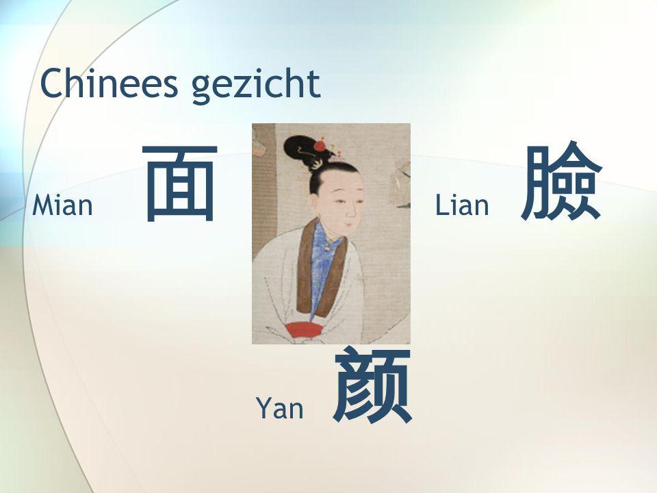 Chinees gezicht Mian 面 Lian 臉 Yan 颜