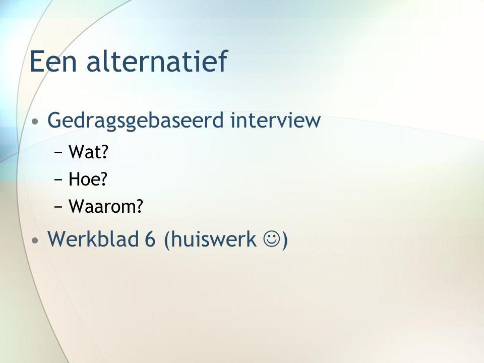 Een alternatief Gedragsgebaseerd interview Werkblad 6 (huiswerk )