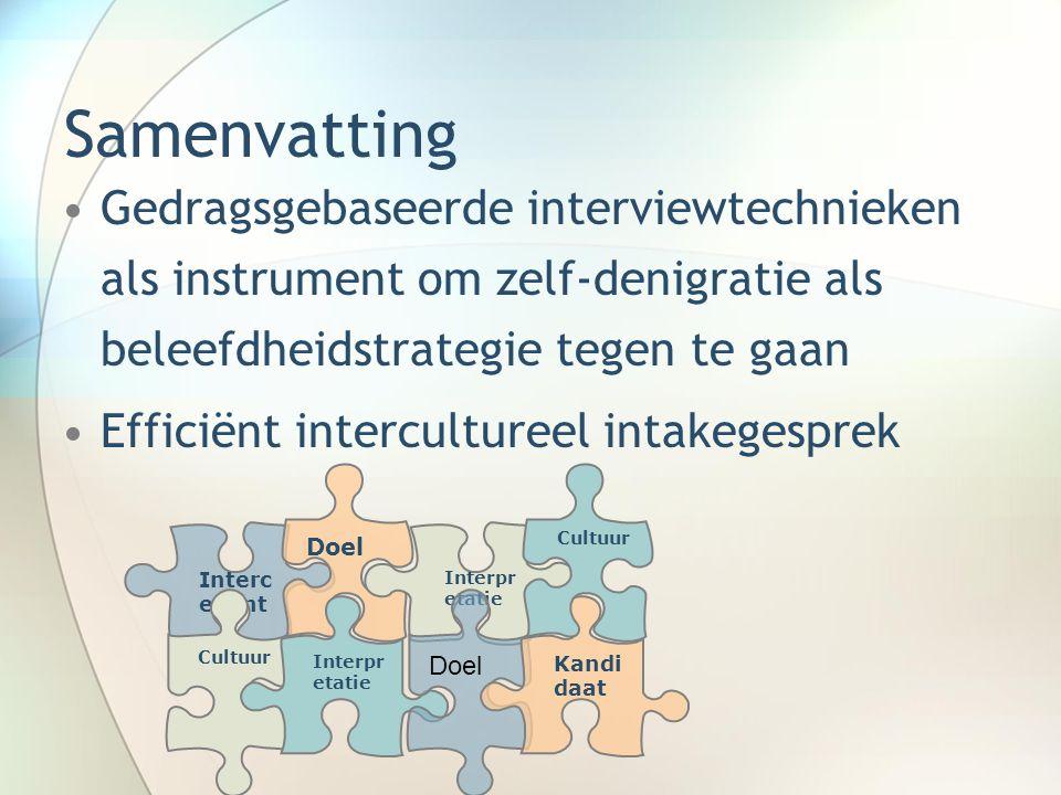 Samenvatting Gedragsgebaseerde interviewtechnieken als instrument om zelf-denigratie als beleefdheidstrategie tegen te gaan.