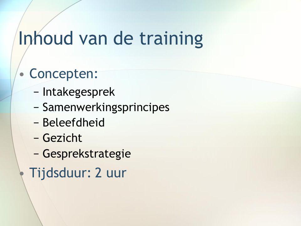 Inhoud van de training Concepten: Tijdsduur: 2 uur Intakegesprek