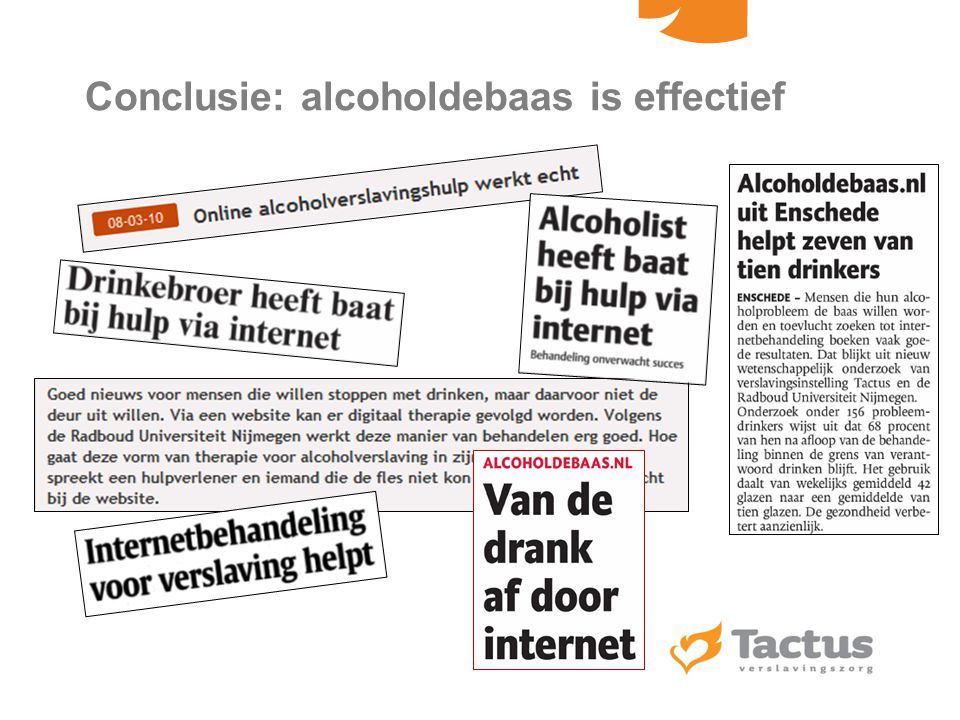 Conclusie: alcoholdebaas is effectief